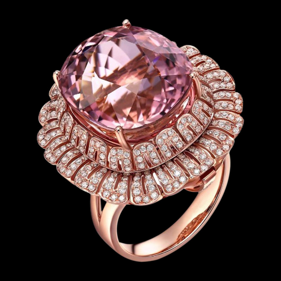 Rose Gold Rubellite Diamond Ring