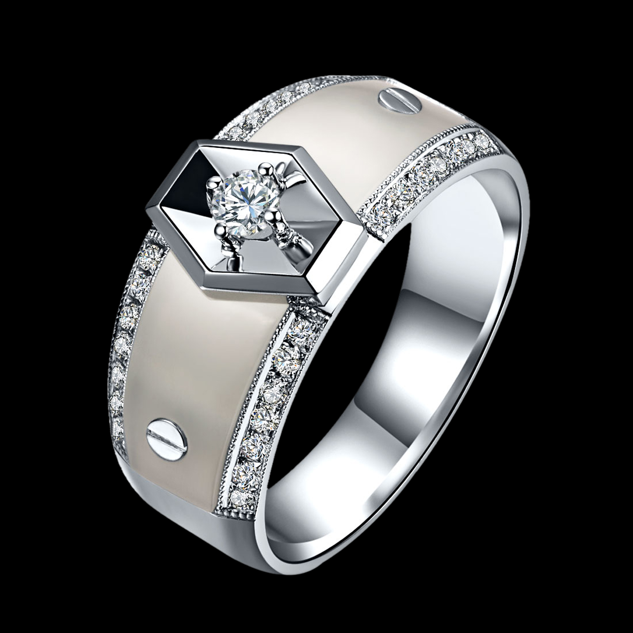jewellery palladium carat ring gold the engagement cluster platinum products